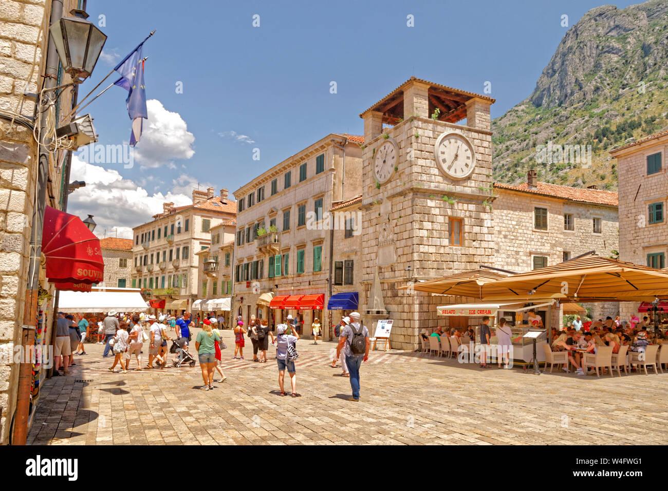 Clock tower at Kotor old town, Kotor, Montenegro. Stock Photo