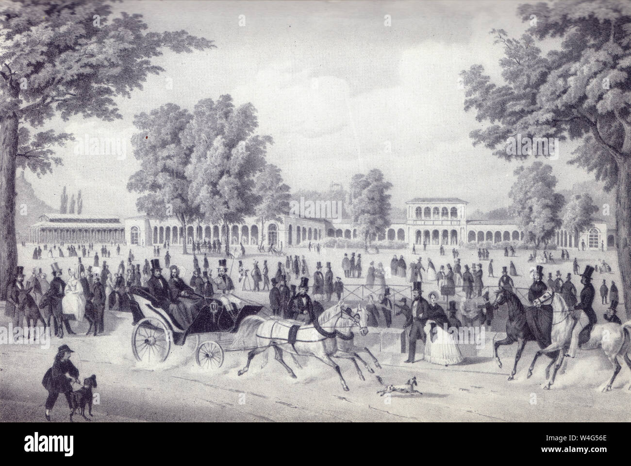 The Iron Fountain Pavilion and the Arkadenbau in Bad Kissingen, Germany. lithograph by Christian Weiss and H kuber 1850 Stock Photo