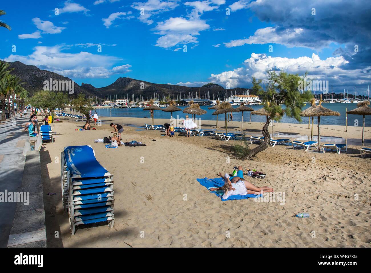 Majorca, Strand in Port de Pollenca, Mallorca, Spanien Stock Photo