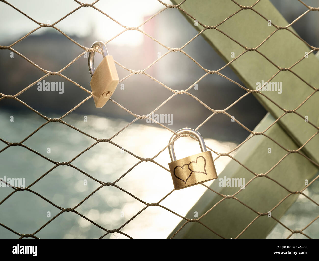 Austria, Wattens, golden love lock with hearts Stock Photo
