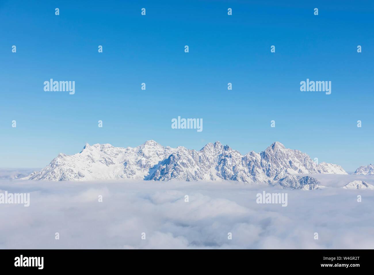 View over snowy mountains at sunshine, Saalbach Hinterglemm, Pinzgau, Austria Stock Photo