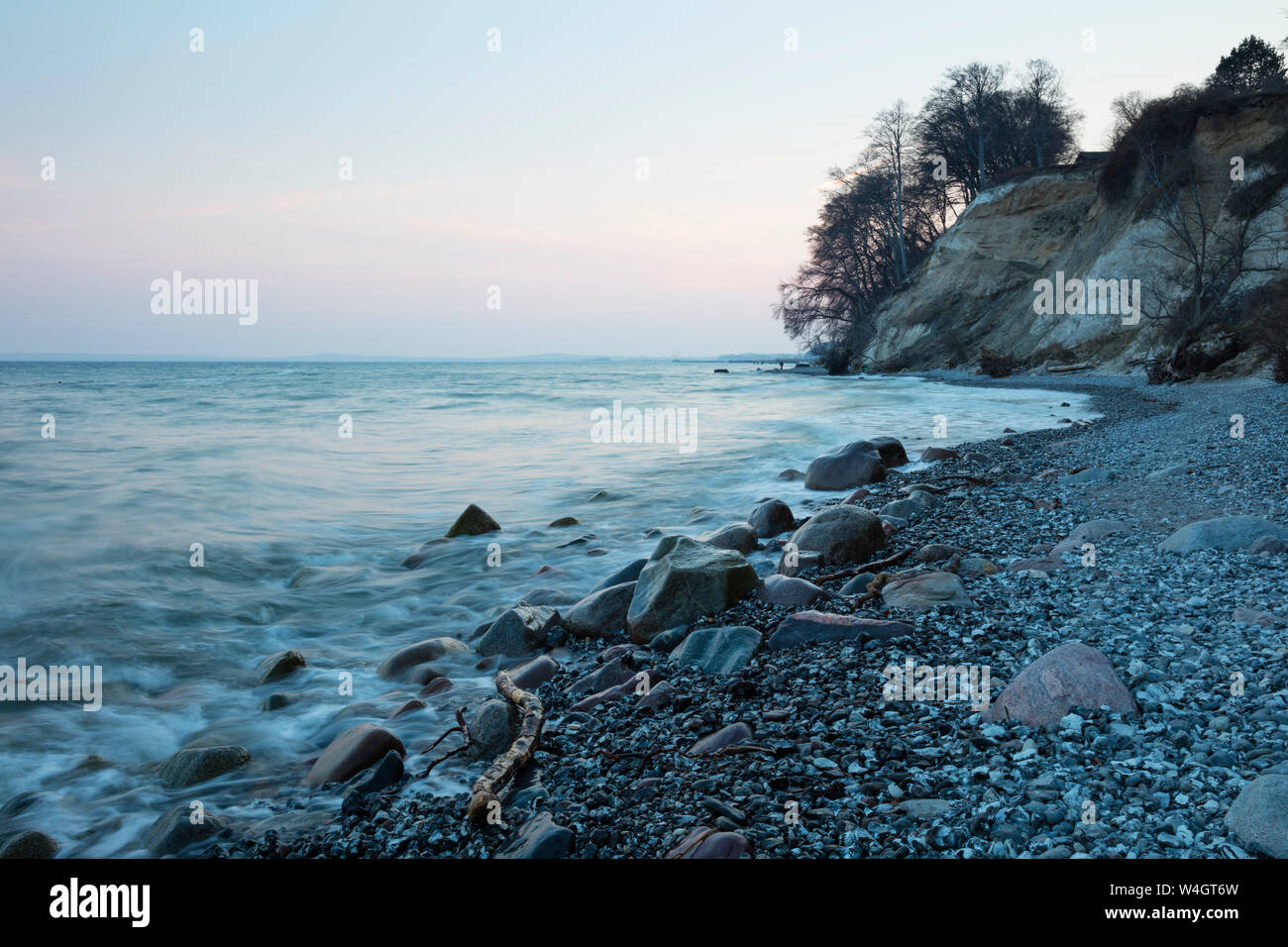 Chalk coast at dusk, Jasmund National Park, Ruegen, Germany Stock Photo