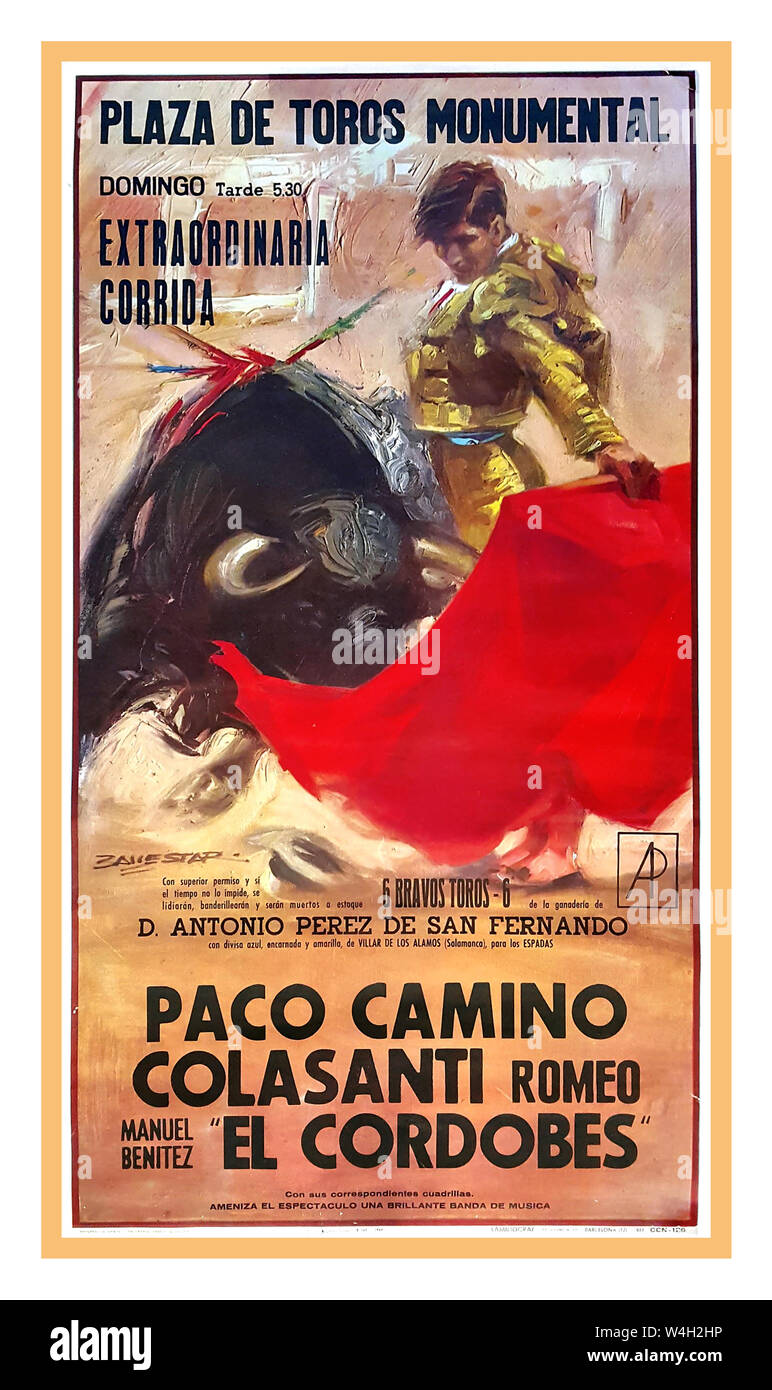 "BULLFIGHTING Vintage POSTER EL CORDOBES BULLFIGHTER 1960's Spanish  poster 1964 DE TOROS MONUMENTAL, EXTRAORDINARIA  CORRIDA… PACO CAMINO / ROMEO COLASANTI / ""EL CORDOBES"" First edition offset poster. 1964. A typical poster for a Spanish corrida; here performed by two well-know matadors: Paco Camino and ""El Cordobés"" Bull fighting in Spain now dramatically reduced due to tourists staying away over animal cruelty situation. Plaza de Toros Monumental Stock Photo"