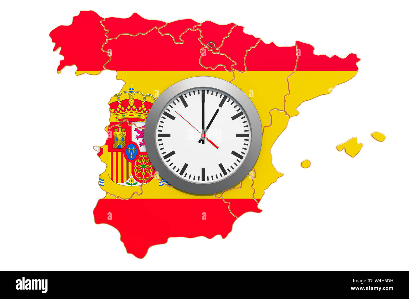 Map Of Spain Time Zones.Time Zones In Spain Concept 3d Rendering Isolated On White