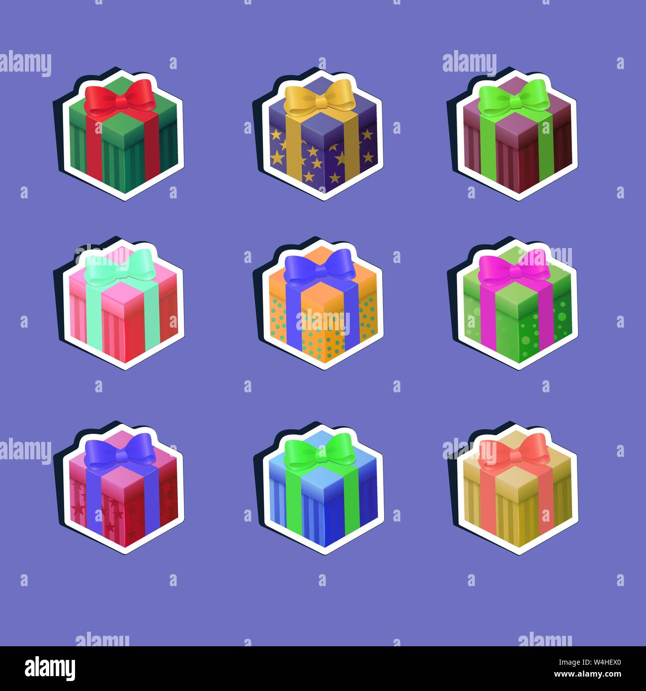 Set of nine gift boxes. Bright multi-colored boxes tied with satin ribbons. To create icons on the site, in games, mobile applications. For scrapbooki Stock Vector