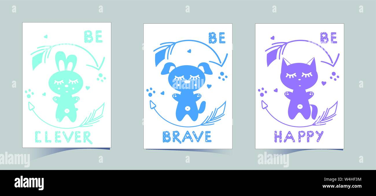 Set of cute nursery posters including puppy, banny, kitten, round arrows, phrases: be brave, clever, happy. Delicate colors to decorate the children's room: blue, green. Vector illustrations for invitations, greeting cards, poster Stock Vector