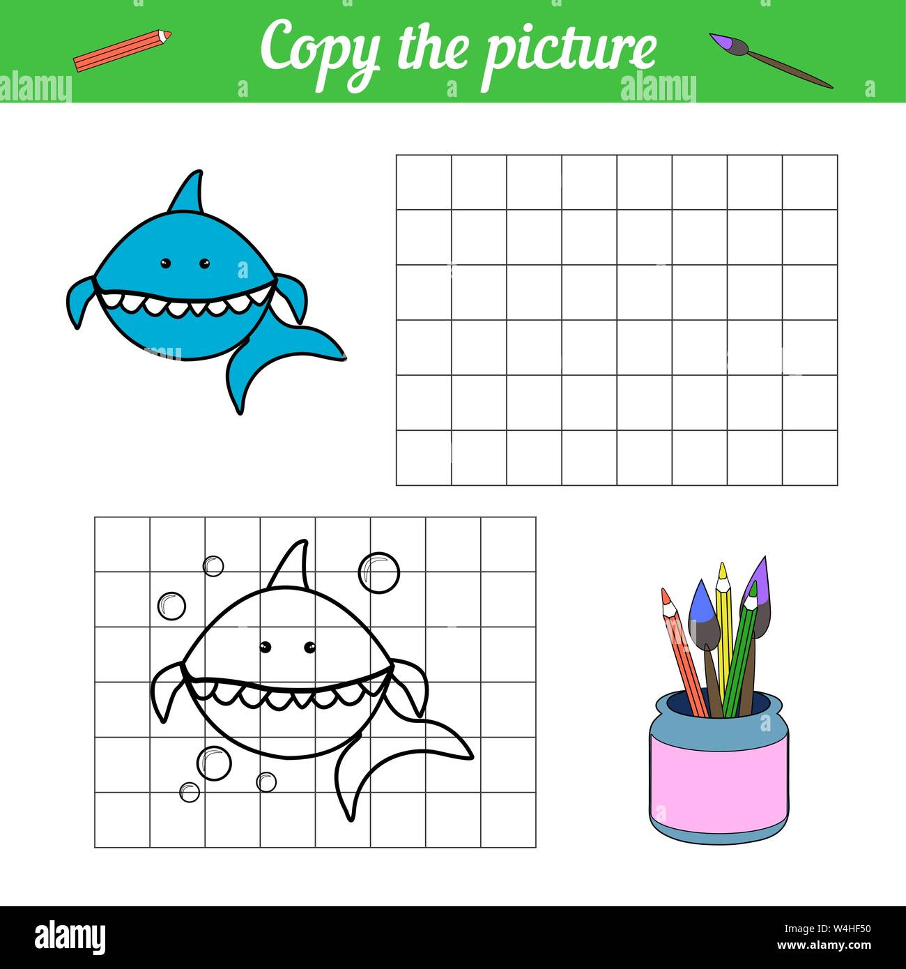 Shark coloring book Copy on the grid. With a sample of blue fish and bubbles. Leisure development. Game for children magazine. Cartoon sea life. Page of the worksheet. Vector illustration. Aquarium Stock Vector