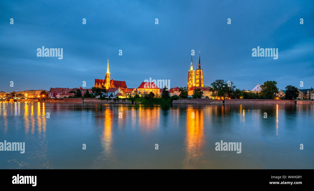 Panorama of the Cathedral Island in Wroclaw, Poland, at night Stock Photo