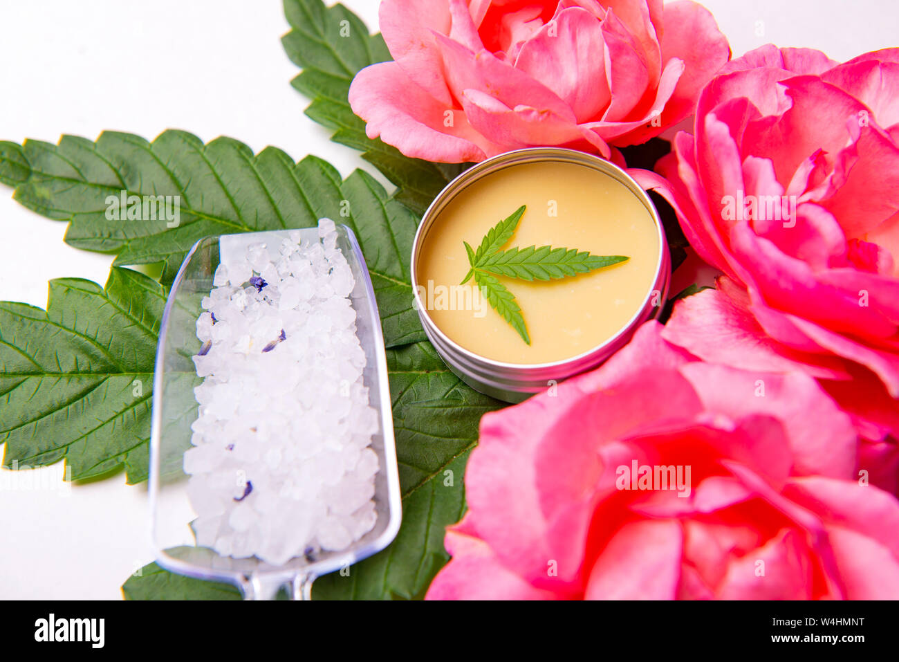 Cannabis infused beauty products with roses, merijuana leaves and CBD salve over white background Stock Photo