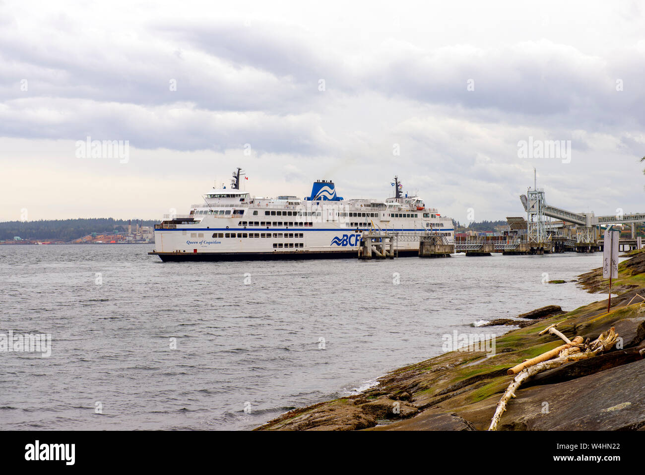 NANAIMO, BC - APRIL 13, 2018: A BC ferry docked at Departure Bay in Nanaimo. BC ferries provides all major ferry services for coastal and island commu Stock Photo