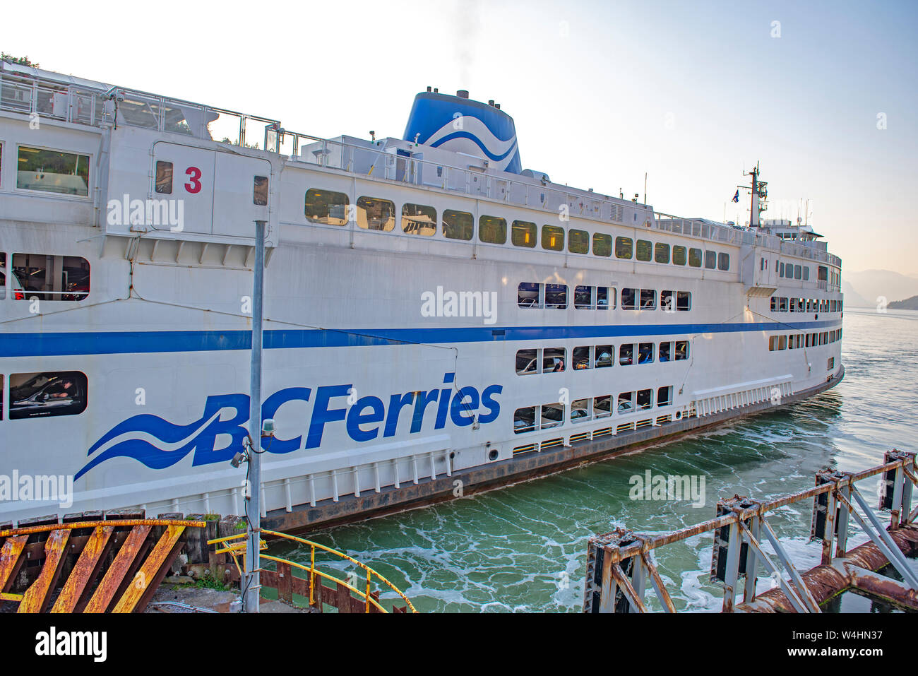 NANAIMO, BC - MAY 28, 2019: A BC ferry departing from Departure Bay in Nanaimo. BC ferries provides all major ferry services for coastal and island co Stock Photo