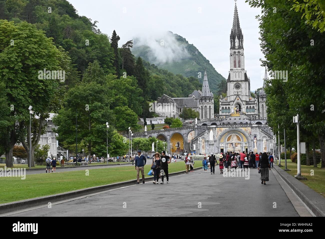 ihe basilicas in Lourdes, France Stock Photo