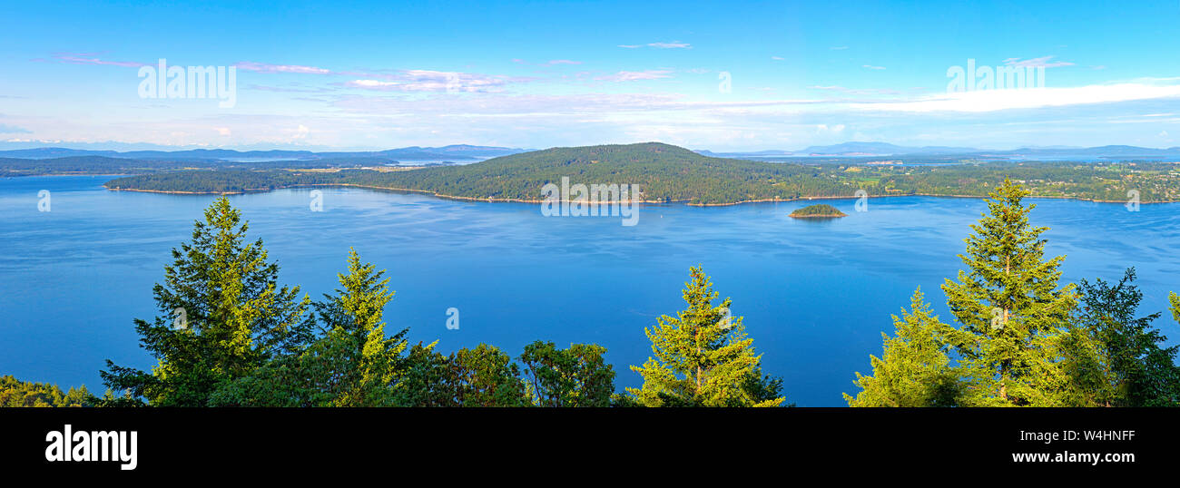 Panoramic view of the Saanich inlet and gulf islands from the Malahat summit in Vancouver Island, BC, Canada Stock Photo