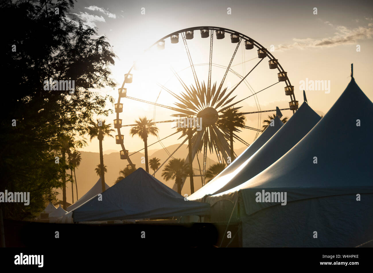 Silhouette Of Iconic Ferris Wheel And Tents At Coachella Music Festival Stock Photo Alamy