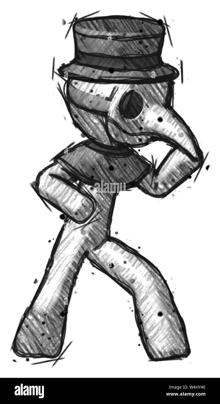 Sketch Plague Doctor Man Martial Arts Defense Pose Right