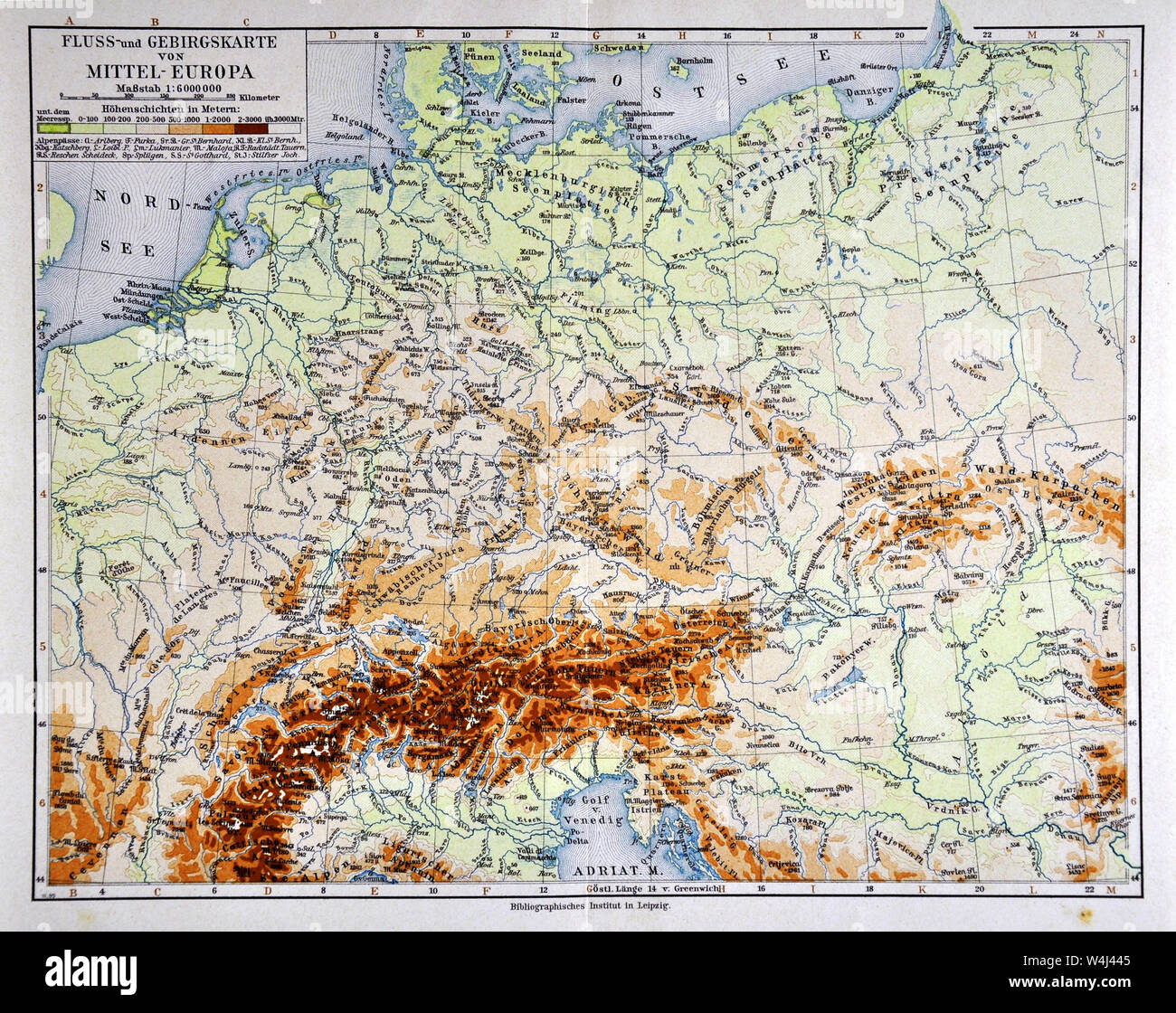 physical map of central europe 1900 Meyer Physical Map of Central Europe Stock Photo   Alamy