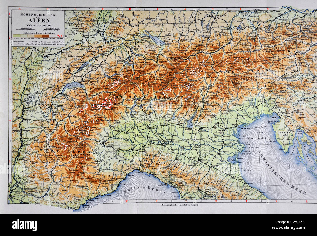 Picture of: 1900 Meyer Physical Map Of North Italy Switzerland And Austrian Alps Stock Photo Alamy