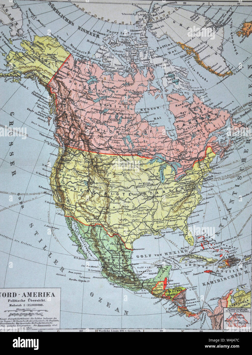1900 Meyer Map of North America showing Canada, the United ...