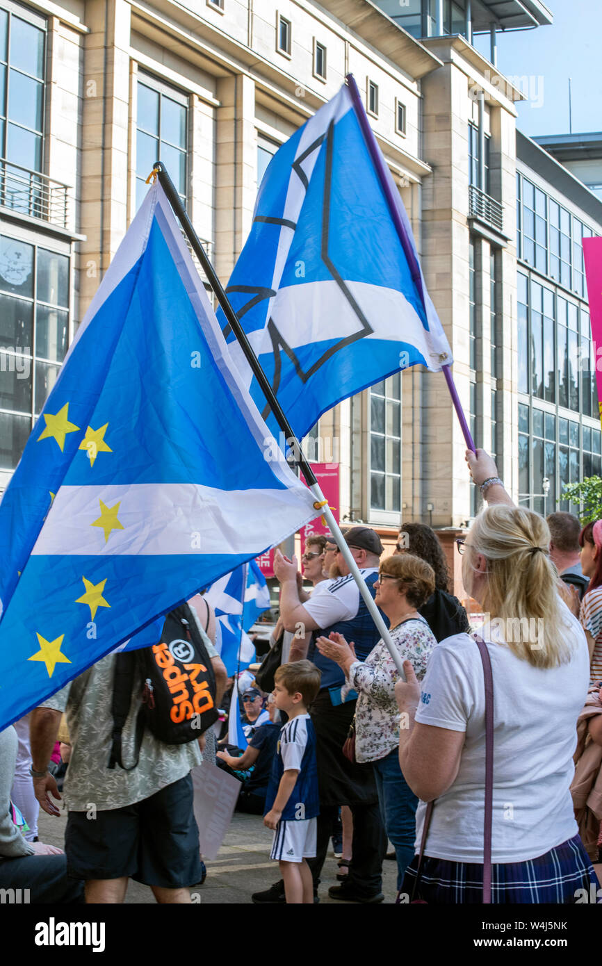 Glasgow, Scotland, UK. 23rd July 2019: Independence supporters protesting against the appointment of Boris Johnson as the Uk's new Prime Minister. Stock Photo