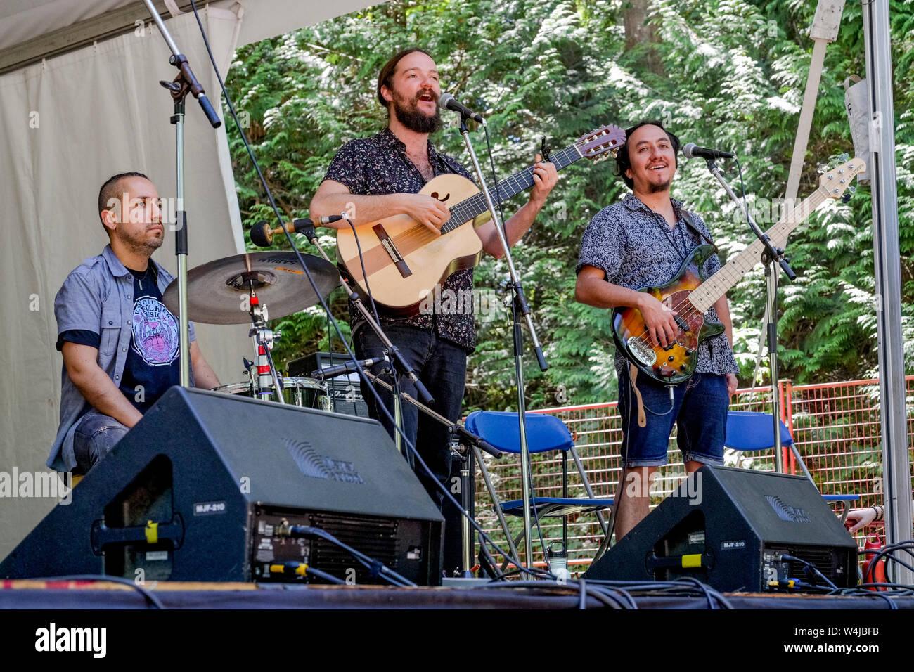 Nano Stern Trio, Vancouver Folk Music Festival, Vancouver, British Columbia, Canada Stock Photo