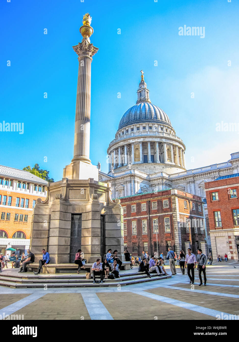 Paternoster Square with a view of St Paul's Cathedral. London, England. Stock Photo