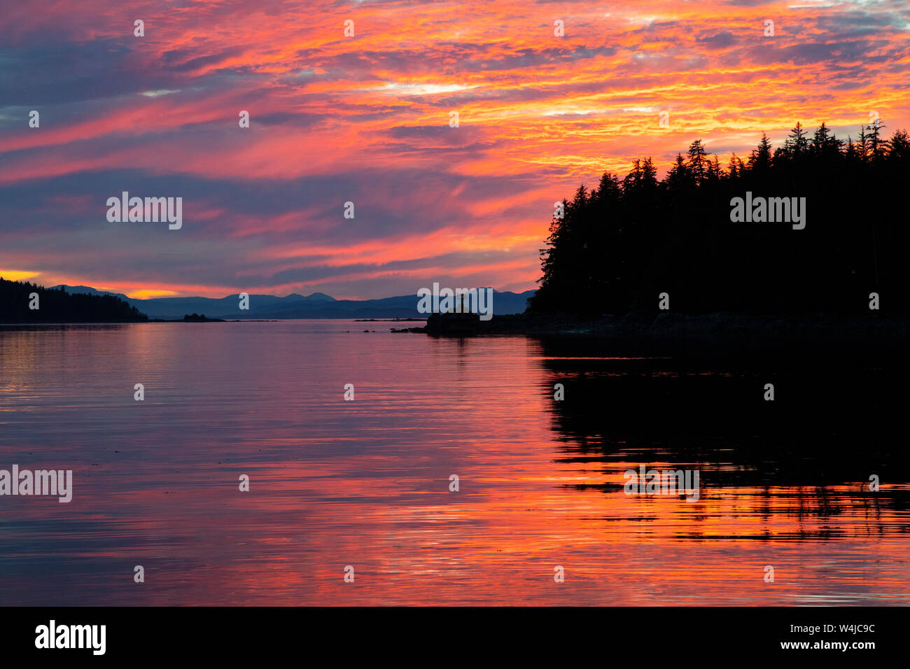 Sunset over Frederick Sound from Cape Fanshaw, Tongass National Forest, Alaska. Stock Photo