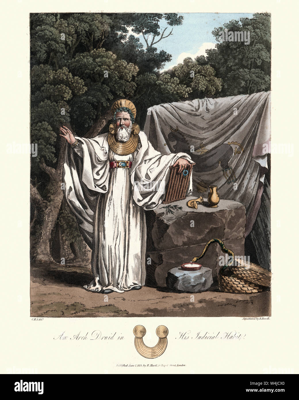 Vintage engraving of Druids, Archdruid in his judicial habit. 1815, The Costume of the Original Inhabitants of the British Islands, by MEYRICK, Samuel Stock Photo