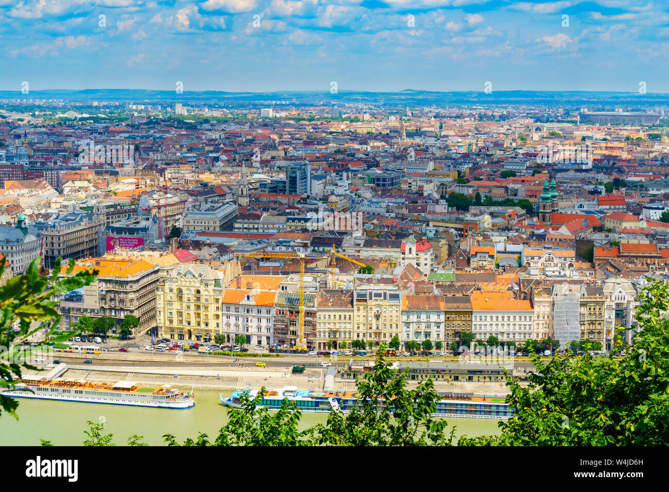 Panorama of Budapest over the Danube river. The bridges destroyed in World War II touch the two parts of the city Buda and Pest. The bridges stand out Stock Photo