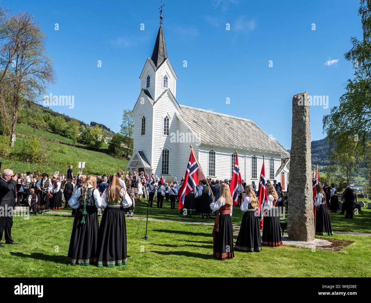 Celebration of the norwegian national day, village Hafslo at lake Hafslovatn, located near the Sognefjord, Norway Stock Photo