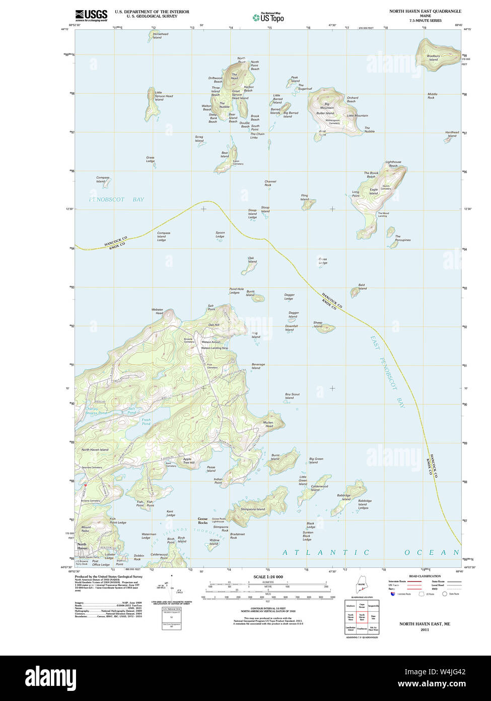 Maine USGS Historical Map North Haven East 20110909 TM Restoration Stock Photo