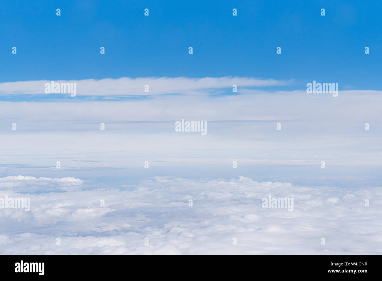 Beautiful sky above the clouds. Background of cloudy sky. Stock Photo
