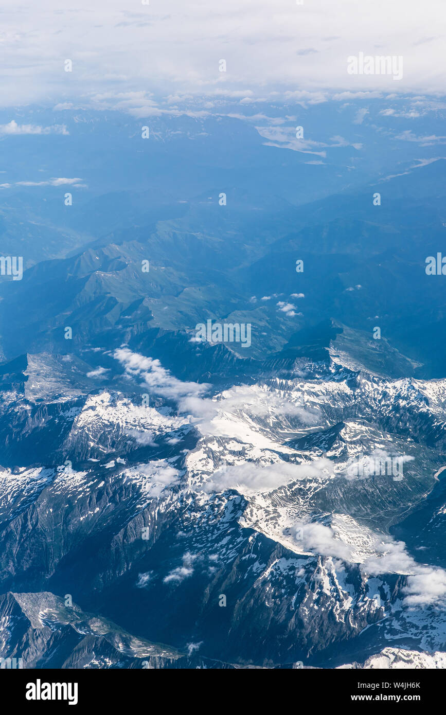 Aerial view of Alps mountains, Europe. Nature, scenic landscape Stock Photo