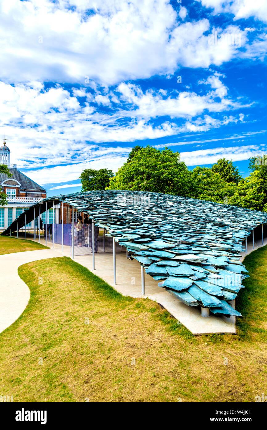 Serpentine Pavilion 2019 designed by Japanese architect Junya Ishigami, Hyde Park, London, UK Stock Photo