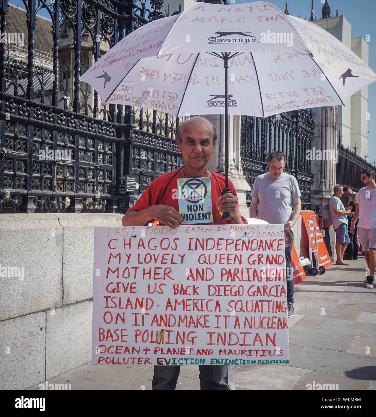 London, UK. 23rd July, 2019. A Brexit supporter demonstrates opposite the Houses of Parliament. Credit: Yiannis Alexopoulos/SOPA Images/ZUMA Wire/Alamy Live News Stock Photo
