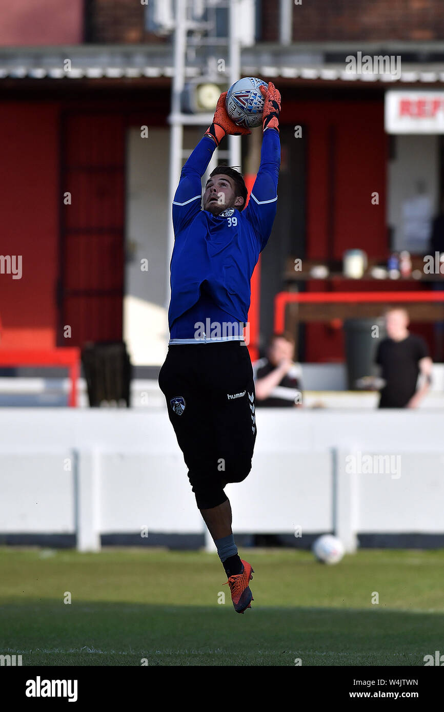 ASHTON UNDER LYNE, UK. 23rd July, 2019. Oldham Athletic's Gregor Zabret in action during the Pre-season Friendly match between Ashton United and Oldham Athletic at Hurst Cross Stadium, Ashton under Lyne on Tuesday 23rd July 2019. (Credit: Eddie Garvey | MI News) Credit: MI News & Sport /Alamy Live News Stock Photo