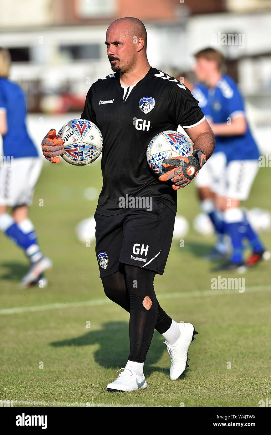 ASHTON UNDER LYNE, UK. 23rd July, 2019. Oldham Athletic's Greg Hartley in action during the Pre-season Friendly match between Ashton United and Oldham Athletic at Hurst Cross Stadium, Ashton under Lyne on Tuesday 23rd July 2019. (Credit: Eddie Garvey   MI News) Credit: MI News & Sport /Alamy Live News Stock Photo