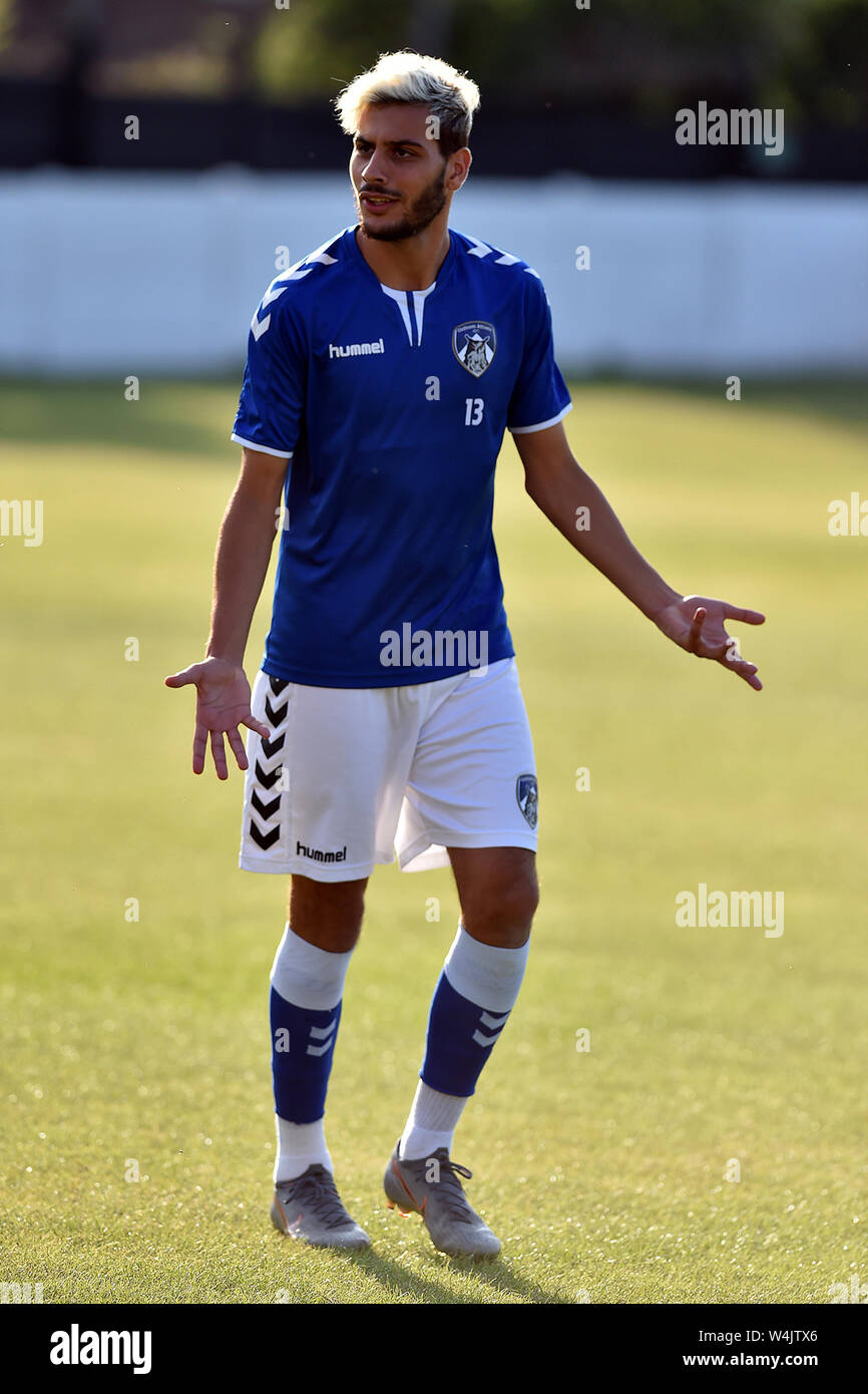 ASHTON UNDER LYNE, UK. 23rd July, 2019. Oldham Athletic's Florian Gonzalez in action during the Pre-season Friendly match between Ashton United and Oldham Athletic at Hurst Cross Stadium, Ashton under Lyne on Tuesday 23rd July 2019. (Credit: Eddie Garvey | MI News) Credit: MI News & Sport /Alamy Live News Stock Photo