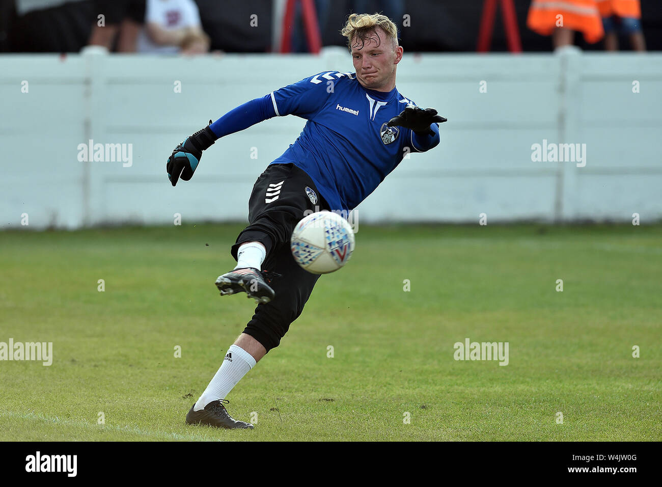 ASHTON UNDER LYNE, UK. 23rd July, 2019. Oldham Athletic's Ellis Allen in action during the Pre-season Friendly match between Ashton United and Oldham Athletic at Hurst Cross Stadium, Ashton under Lyne on Tuesday 23rd July 2019. (Credit: Eddie Garvey | MI News) Credit: MI News & Sport /Alamy Live News Stock Photo