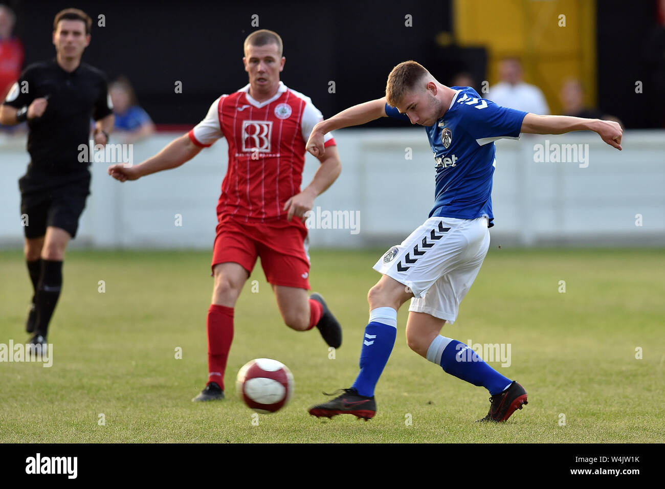 ASHTON UNDER LYNE, UK. 23rd July, 2019. Oldham Athletic's Reece Gaskell in action during the Pre-season Friendly match between Ashton United and Oldham Athletic at Hurst Cross Stadium, Ashton under Lyne on Tuesday 23rd July 2019. (Credit: Eddie Garvey | MI News) Credit: MI News & Sport /Alamy Live News Stock Photo