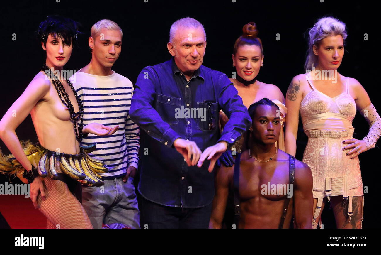 London, UK. 23rd July, 2019. Cast and designer Jean Paul Gaultier: Fashion Freak Show press preview held at Queen Elizabeth Hall, South Bank Credit: SOPA Images Limited/Alamy Live News Stock Photo