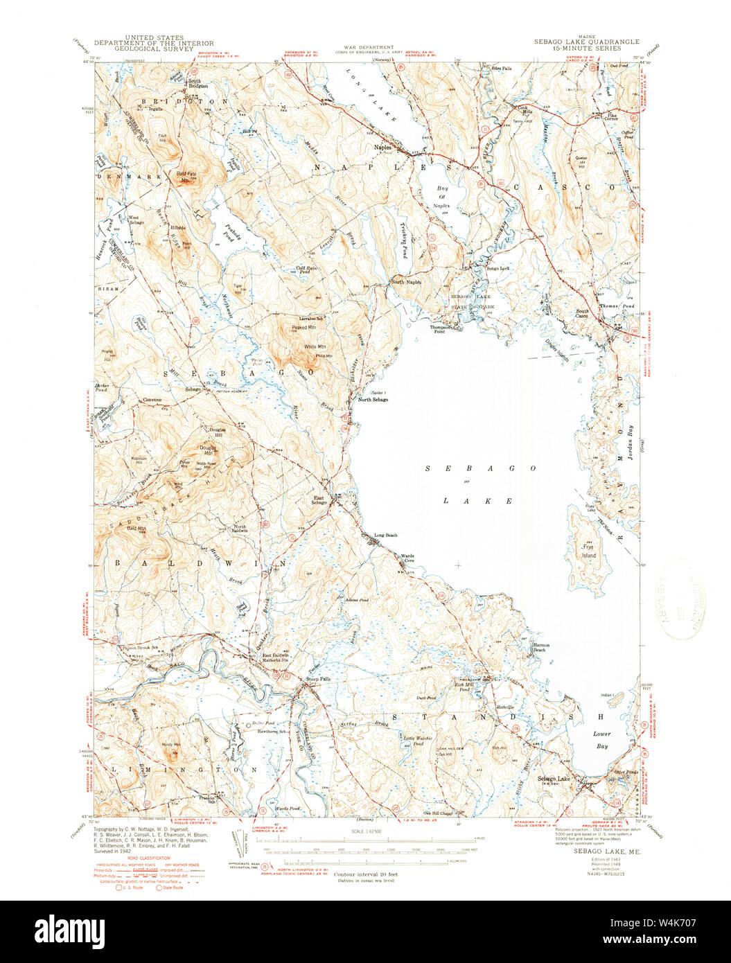 Maine USGS Historical Map Sebago Lake 460848 1943 62500 ... on surry mountain lake map, pittsfield lake map, mexico lake map, bedford lake map, flagstaff lake map, mooselookmeguntic lake map, china lake map, jaffrey lake map, sebasticook lake map, little sebago map, maine map, massachusetts map, lake easton state park campground map, sperry lake map, sebago state park map, diamond valley lake map, point sebago map, lake wallenpaupack map, clarks lake map, gardner lake map,