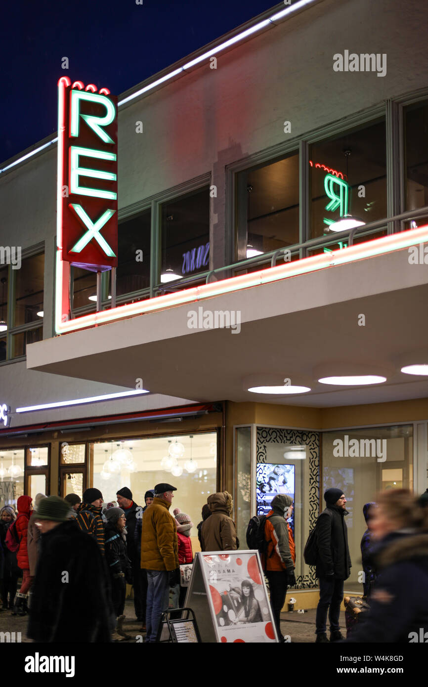 Iconic neon lights of Bio Rex - cinema opened in 1936 - in Helsinki, Finland. Now also a sign for Amos Rex art museum operating in the same building. Stock Photo