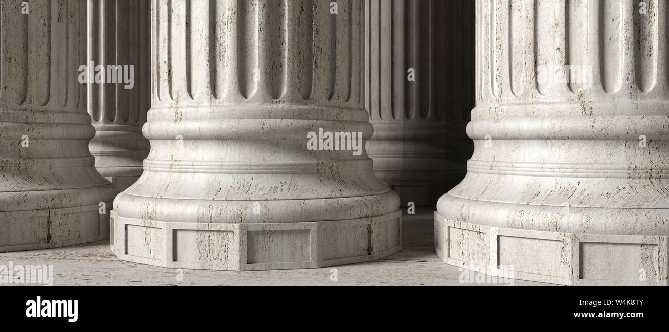 Classic greek columns marble stone, banner. Closeup view with details. 3d illustration Stock Photo