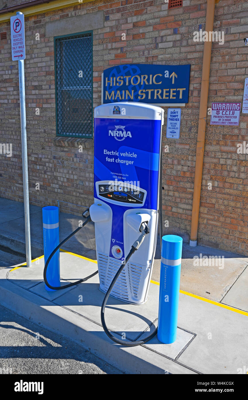 NRMA electric vehicle fast charger behind the historic town hall in Glen Innes in northern new south wales, australia Stock Photo