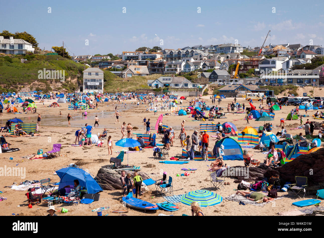Polzeath, Cornwall. 23rd July 2019. Holidaymakers enjoy the heatwave on a hot and sunny afternoon on Polzeath Beach on North Cornwall's Atlantic coast, Stock Photo