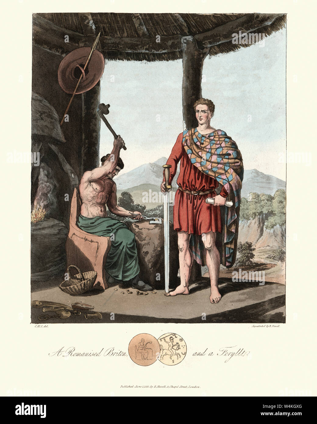 Vintage engraving of Romanised Briton and a Fferyllt. 1815, The Costume of the Original Inhabitants of the British Islands, by MEYRICK, Samuel Rush an Stock Photo
