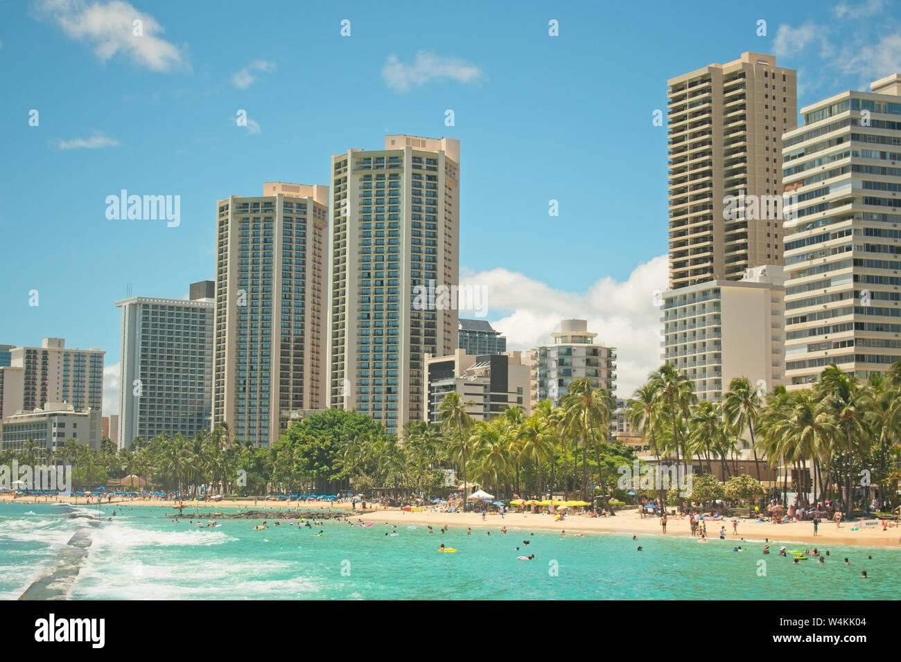 Skyscrapers In Waikiki Beach Hawaii Stock Photo 261046132