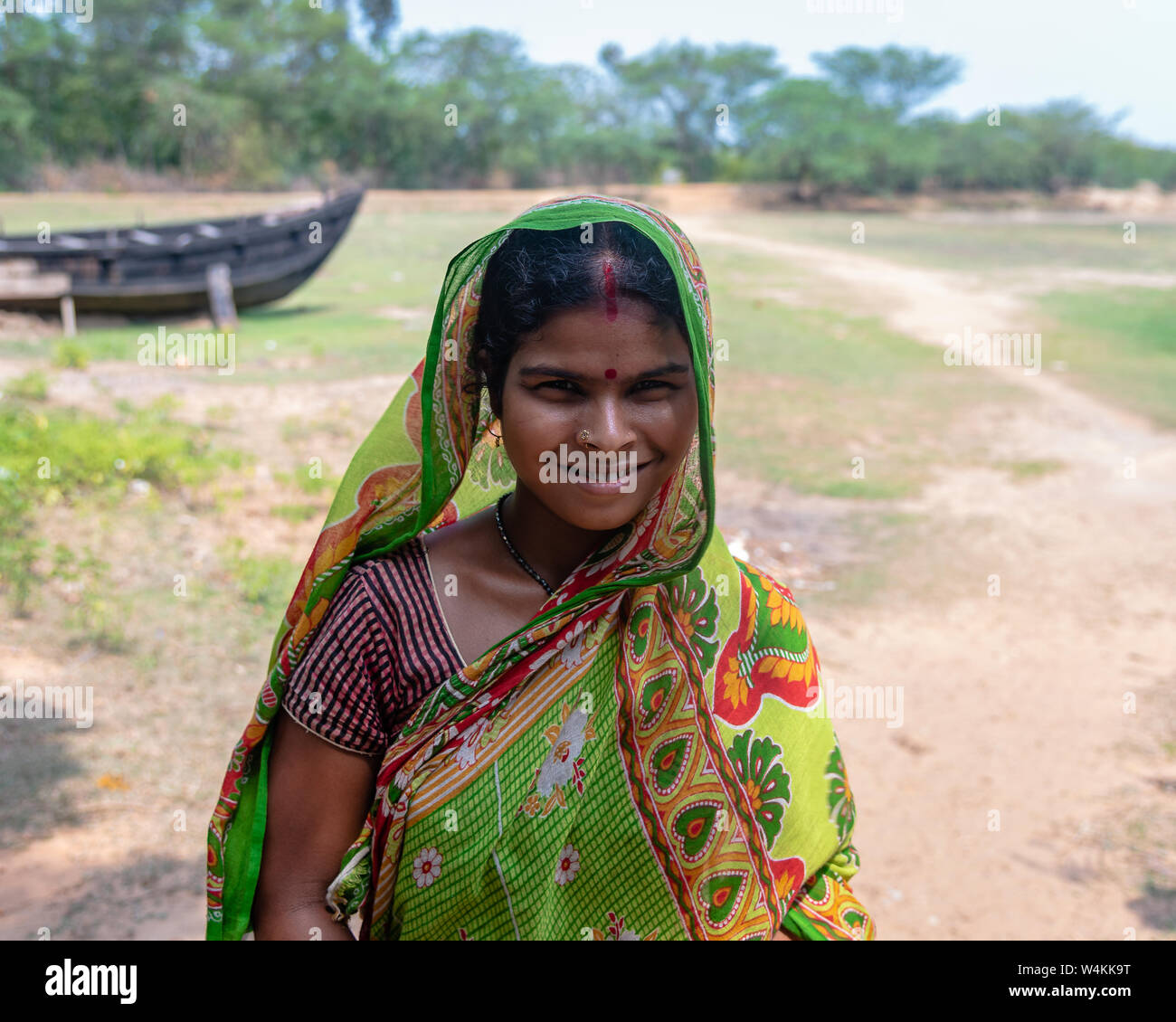 Bichitrapur, Orissa, India. - May31,2019. An unidentified Indian Rural woman smiling in front of the Camera. Stock Photo
