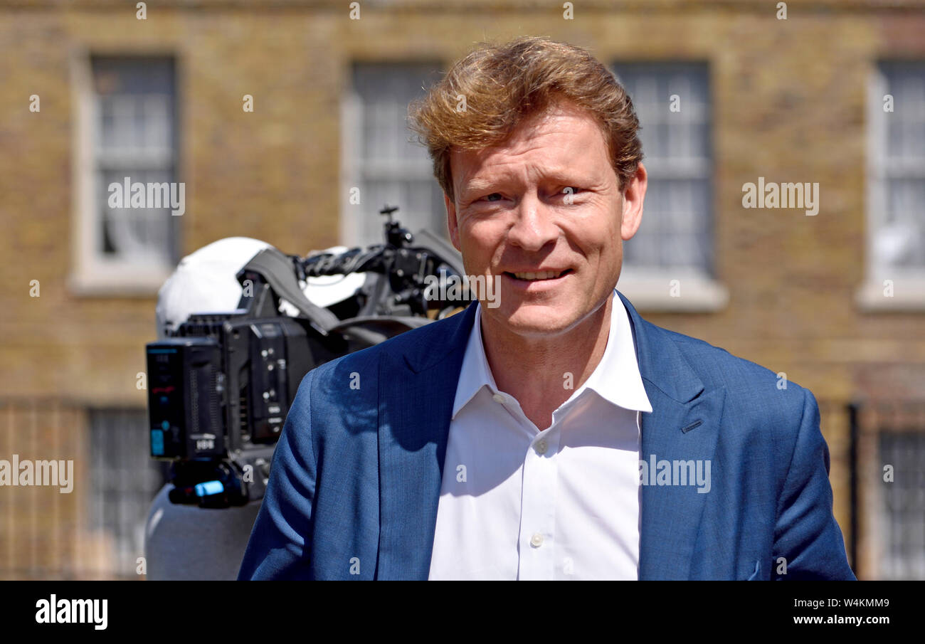 Richard Tice MEP, chairman of the Brexit Party, on College Green, Westminster, July 2019 Stock Photo