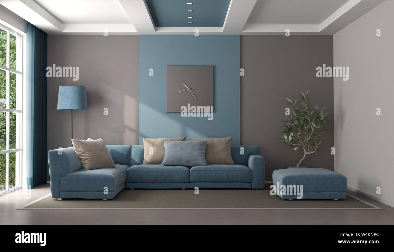 Minimalist Blue And Brown Living Room With Sofa And Footstool 3d Rendering Stock Photo Alamy